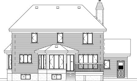 Colonial House Plan 49437 Rear Elevation