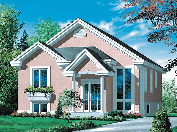 Colonial, Narrow Lot, One-Story House Plan 49438 with 3 Beds, 2 Baths Elevation