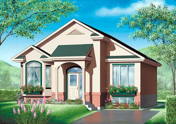 House Plan 49439 | Colonial Style Plan with 996 Sq Ft, 2 Bedrooms, 1 Bathrooms Elevation