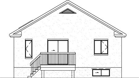 House Plan 49439 | Colonial Style Plan with 996 Sq Ft, 2 Bedrooms, 1 Bathrooms Rear Elevation