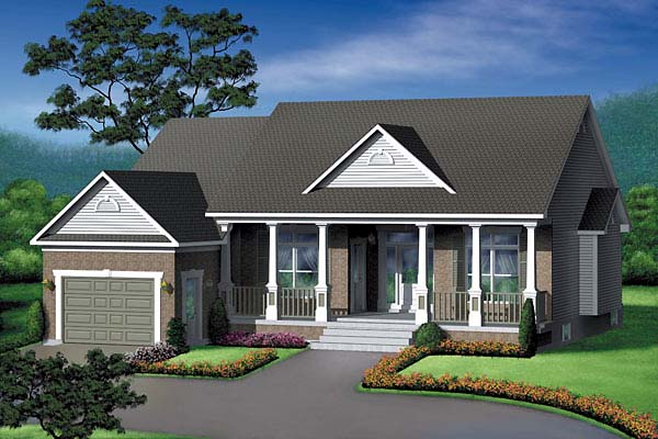 Country, One-Story House Plan 49441 with 2 Beds , 1 Baths , 1 Car Garage Elevation
