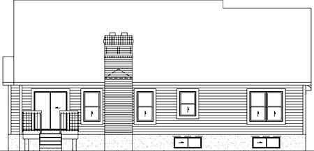 Country One-Story Rear Elevation of Plan 49441