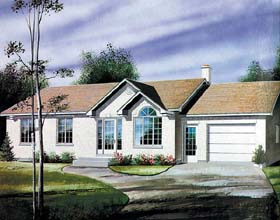 Ranch House Plan 49447 with 3 Beds, 1 Baths, 1 Car Garage Elevation