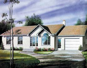 House Plan 49448 | Ranch Style Plan with 1112 Sq Ft, 3 Bedrooms, 1 Bathrooms, 1 Car Garage Elevation