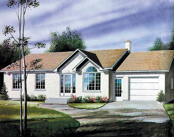 One-Story , Ranch , Elevation of Plan 49451