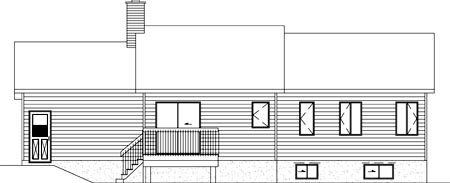 One-Story , Ranch , Rear Elevation of Plan 49451
