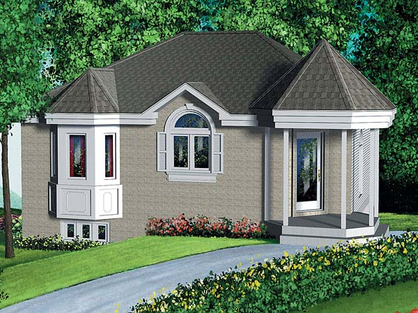 Narrow Lot, One-Story, Victorian House Plan 49452 with 2 Beds, 1 Baths Front Elevation