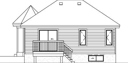 House Plan 49452 | Victorian Style Plan with 889 Sq Ft, 2 Bed, 1 Bath Rear Elevation