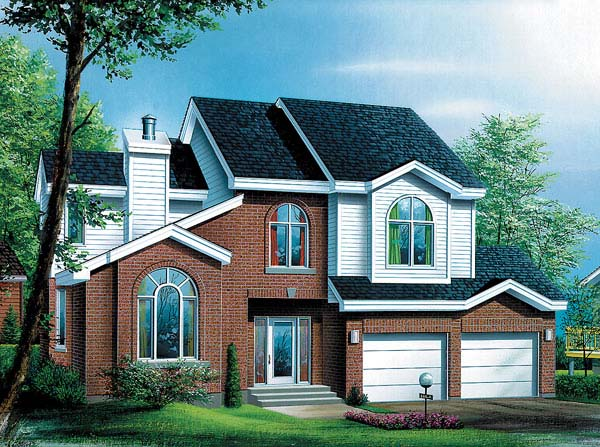 European House Plan 49454 with 4 Beds, 3 Baths, 2 Car Garage Elevation