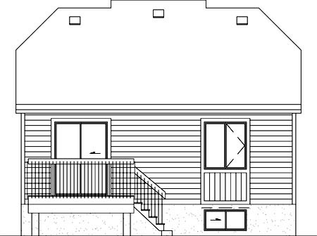 Contemporary , Narrow Lot , One-Story , Rear Elevation of Plan 49455
