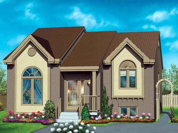 European House Plan 49461 with 2 Beds, 1 Baths Elevation