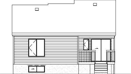 European House Plan 49461 with 2 Beds, 1 Baths Rear Elevation