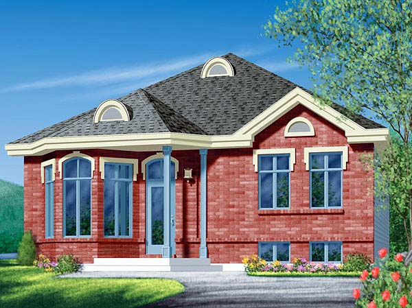 Narrow Lot, One-Story, Traditional House Plan 49463 with 3 Beds, 1 Baths Elevation