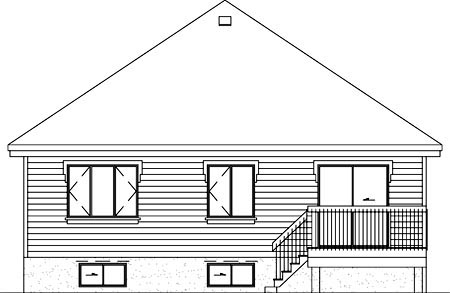 Narrow Lot, One-Story, Traditional House Plan 49463 with 3 Beds, 1 Baths Rear Elevation