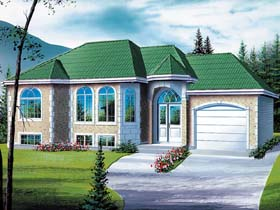 House Plan 49465 | European Style Plan with 1120 Sq Ft, 2 Bedrooms, 1 Bathrooms, 1 Car Garage Elevation