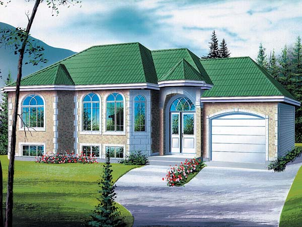 European, One-Story House Plan 49465 with 2 Beds, 1 Baths, 1 Car Garage Elevation