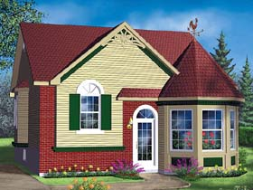 House Plan 49468 | Victorian Style Plan with 1028 Sq Ft, 2 Bedrooms, 1 Bathrooms Elevation