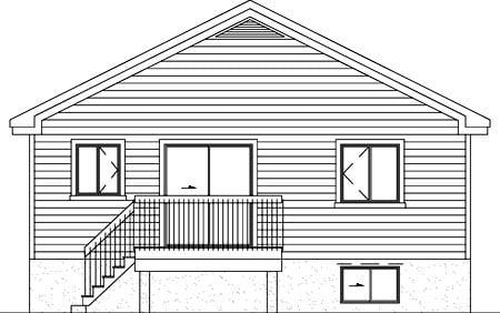 Narrow Lot, One-Story, Traditional House Plan 49472 with 2 Beds, 1 Baths Rear Elevation
