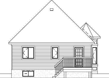Narrow Lot, One-Story, Victorian House Plan 49476 with 2 Beds, 1 Baths Rear Elevation