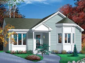 Ranch House Plan 49479 with 2 Beds, 1 Baths Elevation