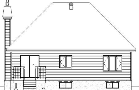 European House Plan 49486 Rear Elevation