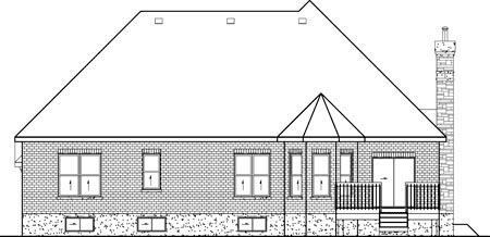 European House Plan 49488 Rear Elevation