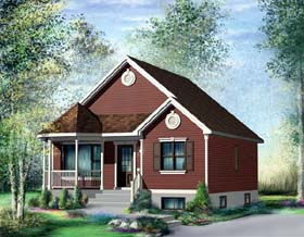 Traditional House Plan 49489 with 2 Beds, 1 Baths Elevation