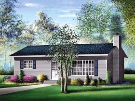 Narrow Lot , One-Story , Ranch House Plan 49491 with 2 Beds, 1 Baths Elevation