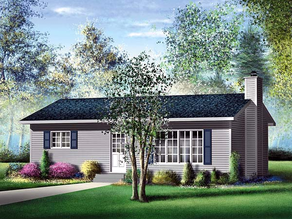 Narrow Lot, One-Story, Ranch House Plan 49491 with 2 Beds, 1 Baths Elevation