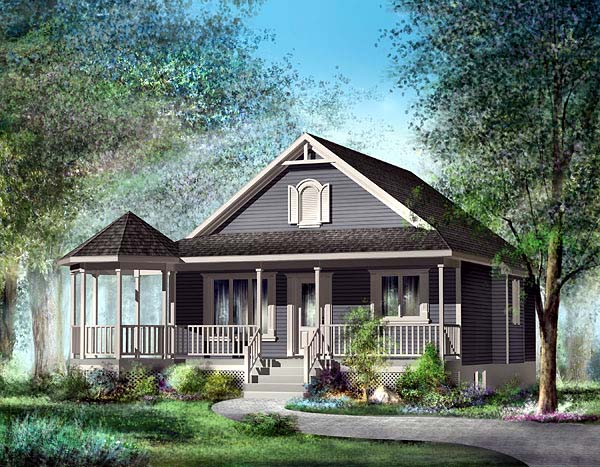 Southern House Plan 49492 with 2 Beds, 1 Baths Elevation