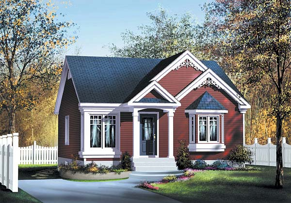 Narrow Lot, One-Story House Plan 49493 with 2 Beds, 1 Baths Elevation