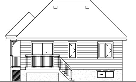 Narrow Lot, One-Story House Plan 49494 with 2 Beds, 1 Baths Rear Elevation