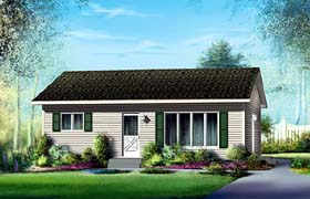 Ranch House Plan 49495 with 2 Beds, 1 Baths Elevation
