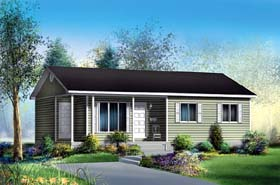 Ranch House Plan 49498 with 3 Beds, 1 Baths Elevation