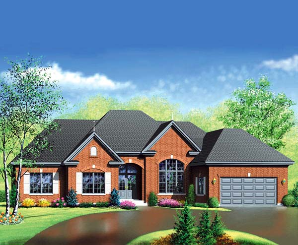 European House Plan 49501 Elevation