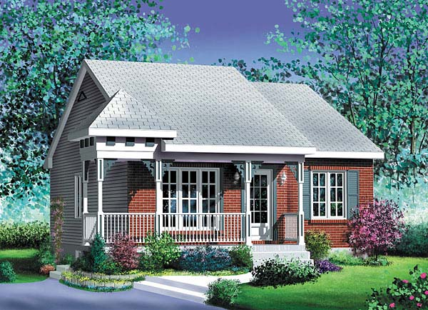 Narrow Lot One-Story Elevation of Plan 49505