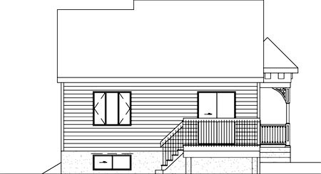 Narrow Lot One-Story Rear Elevation of Plan 49505