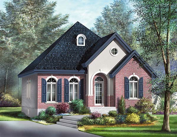 Narrow Lot One-Story Victorian Elevation of Plan 49506