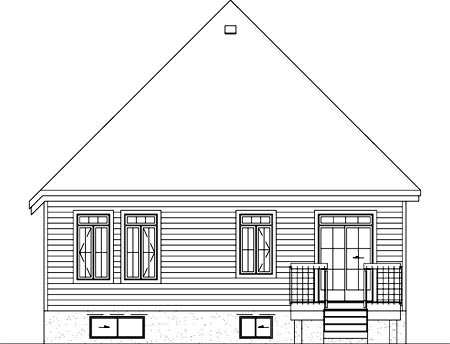 Narrow Lot One-Story Victorian Rear Elevation of Plan 49506