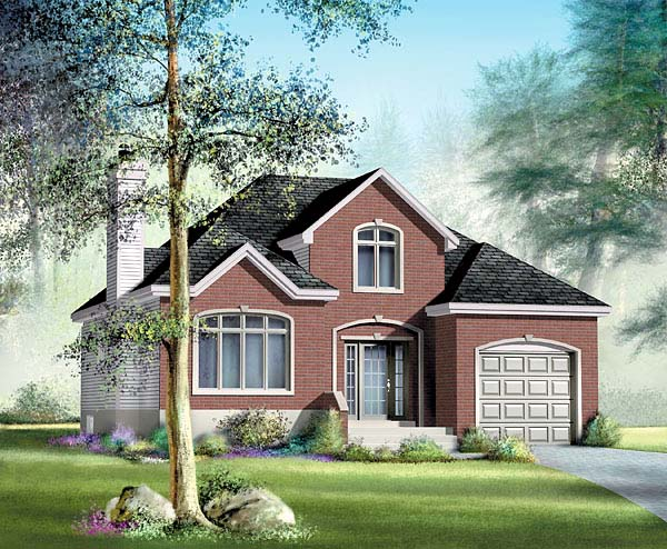 Narrow Lot One-Story Traditional Elevation of Plan 49507