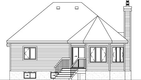 Narrow Lot One-Story Traditional Rear Elevation of Plan 49507