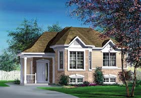 House Plan 49508   Victorian Style Plan with 1109 Sq Ft, 3 Bedrooms, 1 Bathrooms Elevation