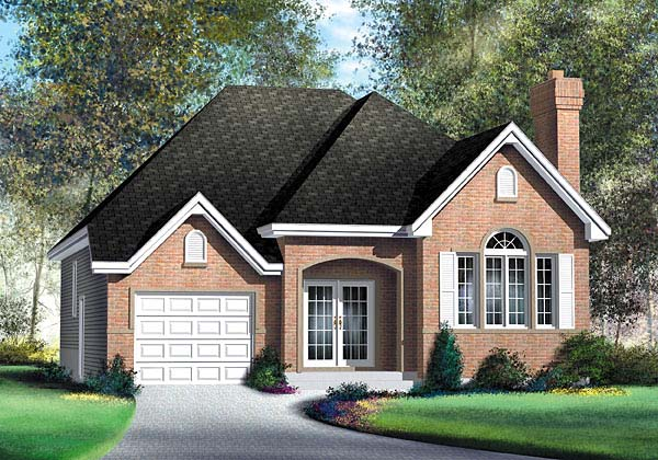 House Plan 49509 | European Style Plan with 1311 Sq Ft, 2 Bedrooms, 2 Bathrooms, 1 Car Garage Elevation