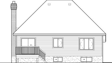 House Plan 49509 | European Style Plan with 1311 Sq Ft, 2 Bedrooms, 2 Bathrooms, 1 Car Garage Rear Elevation