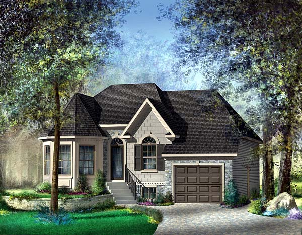 Narrow Lot, One-Story, Victorian House Plan 49511 with 2 Beds, 1 Baths, 1 Car Garage Elevation