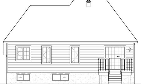 Narrow Lot, One-Story, Victorian House Plan 49511 with 2 Beds, 1 Baths, 1 Car Garage Rear Elevation
