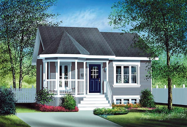 Narrow Lot, One-Story, Victorian House Plan 49512 with 2 Beds, 1 Baths Front Elevation
