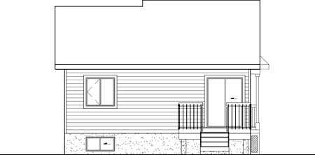 Narrow Lot, One-Story, Victorian House Plan 49512 with 2 Beds, 1 Baths Rear Elevation