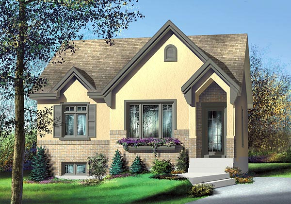 Tudor House Plan 49513 with 2 Beds, 1 Baths Elevation