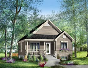 Southern House Plan 49514 with 2 Beds, 1 Baths Elevation